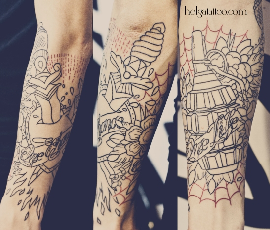old school neo traditional tattoo grenade daggers and heart татуировка в традиционном стиле
