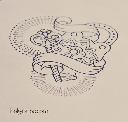 дизайн скетч рисунок old school neo traditional tattoo key and lock совместная парная татуировка в традиционном стиле