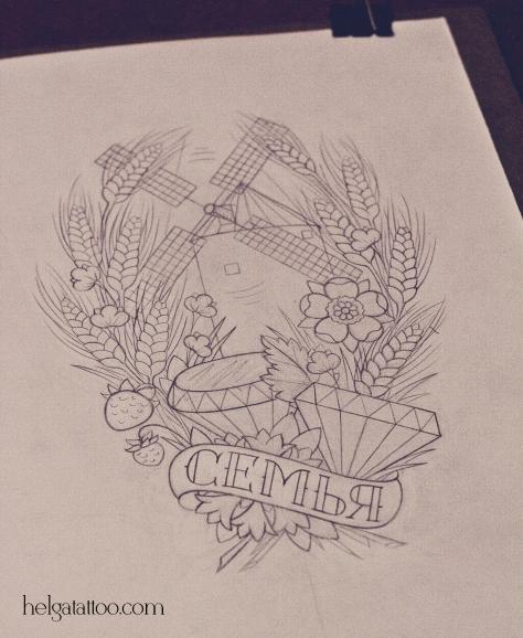 скетч дизайн рисунок семья колосья бриллиант алмаз полевые цветы old school neo traditional tattoo family diamond wheat rye flowers цветная тату татуировка в традиционном стиле на тему семьи