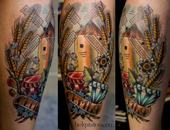 old school neo traditional tattoo mill diamond wheat flower цветная тату на ноге татуировка в традиционном стиле колосья семья