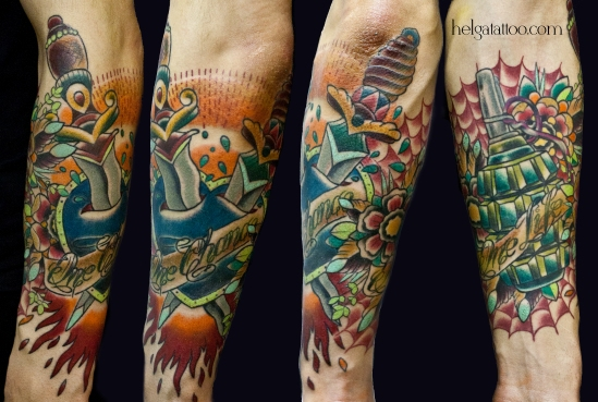 old school neo traditional tattoo dagger knife grenade flower heart цветная тату на руке татуировка в традиционном стиле