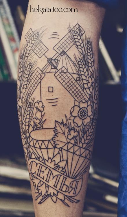 old school neo traditional tattoo татуировка в традиционном стиле алмазы колосья
