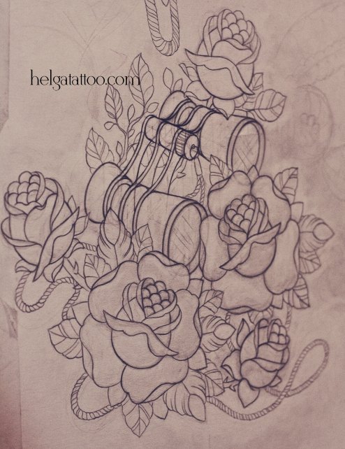 рисунок дизайн скетч old school neo traditional tattoo rose binoculars glass look-see татуировка в традиционном стиле театр театральный бинокль