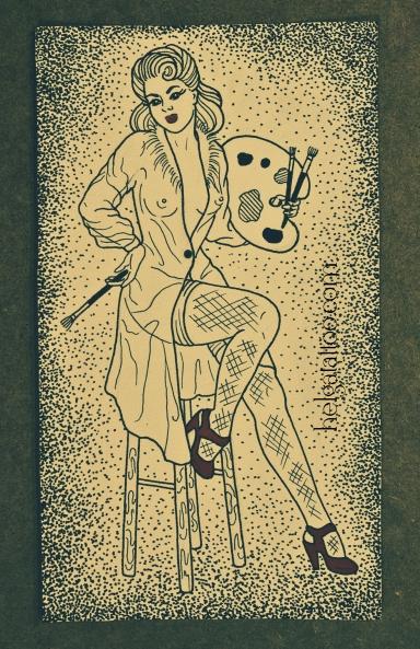 рисунок дизайн эскиз скетч татуировки олд скул pin up girl painter old school neo traditional tattoo