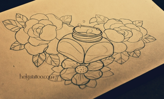 рисунок дизайн скетч old school neo traditional tattoo inkwell roses inkstand inkpot ink-bottle