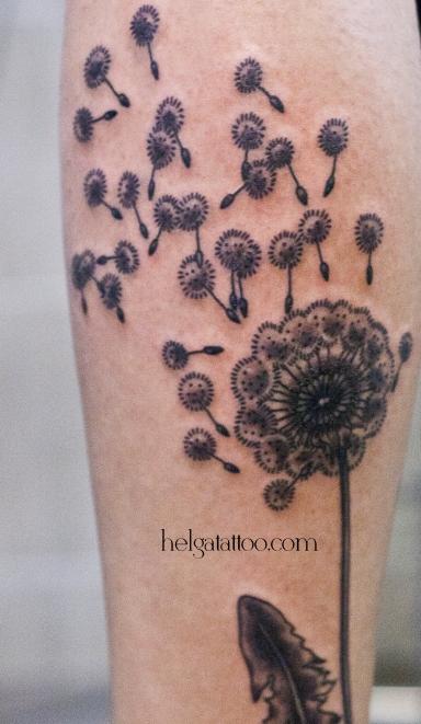 old school neo traditional tattoo flower dandelion  тату цветок цветы в традиционном стиле