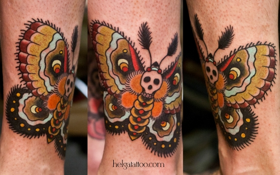 old school neo traditional tattoo butterfly skull цветная тату череп на ноге татуировка в традиционном стиле