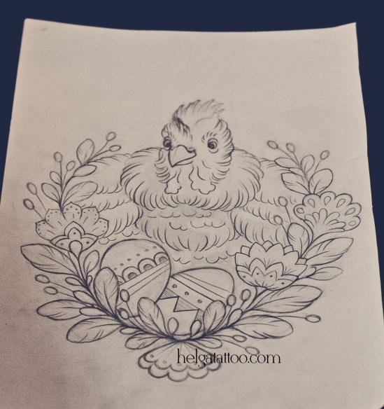 рисунок дизайн скетч old school neo traditional tattoo chicken цветная тату татуировка в традиционном стиле татуировщик тату мастер Хельга СПб Санкт-Петербург tattoo artist Helga