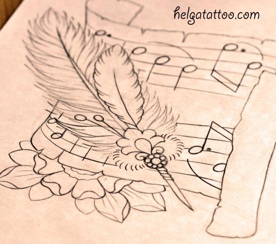 рисунок дизайн эскиз  ноты цветок old school neo traditional tattoo pen feather flower music roll татуировка в традиционном стиле  в Санкт-Петербурге