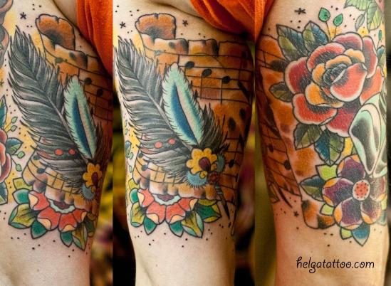 old school neo traditional tattoo feather pen music roll  flower цветная тату на руке татуировка в Санкт-Петербурге в традиционном стиле  ноты цветы