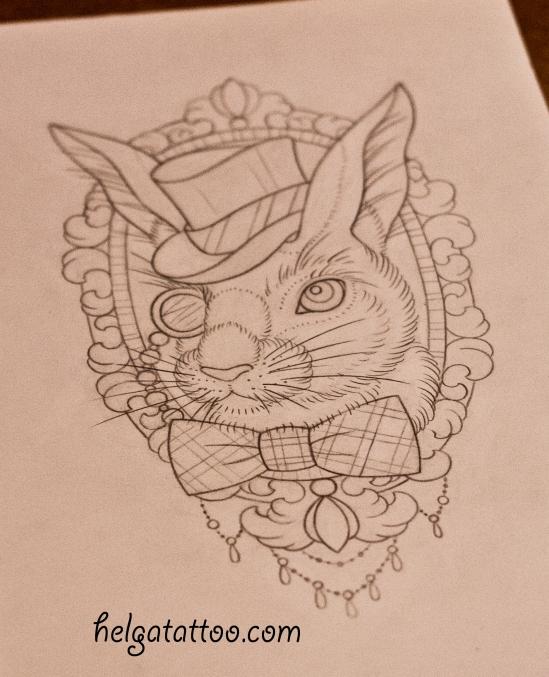 рисунок дизайн скетч old school neo traditional tattoo gentleman hare rabbit цветная тату татуировка в традиционном стиле