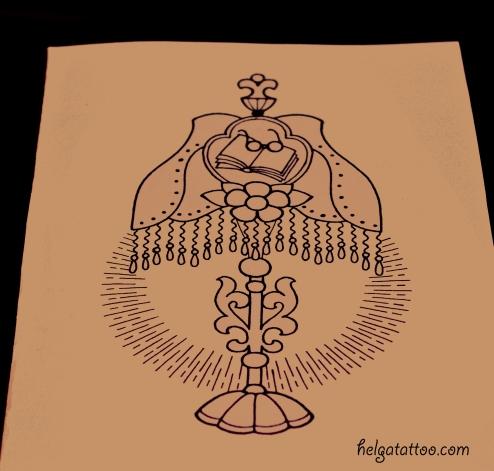 рисунок дизайн скетч old school neo traditional tattoo lamp torchere цветная тату в Питере татуировка в традиционном стиле