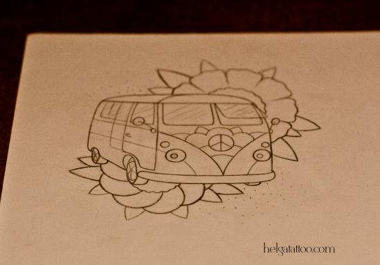 рисунок дизайн скетч old school neo traditional tattoo hippie Bus flowers цветная тату на ноге татуировка в Питере  в традиционном стиле