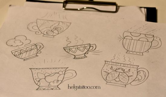 рисунок дизайн скетч чашка old school neo traditional tattoo cup of tea five o'clock цветная тату татуировка в традиционном стиле