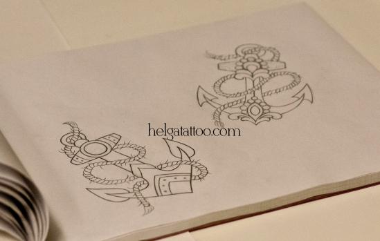 рисунок дизайн скетч морская тема old school neo traditional tattoo anchor tatuaje ancla цветная тату татуировка в традиционном стиле  олд скул в Питере в Санкт-Петербурге