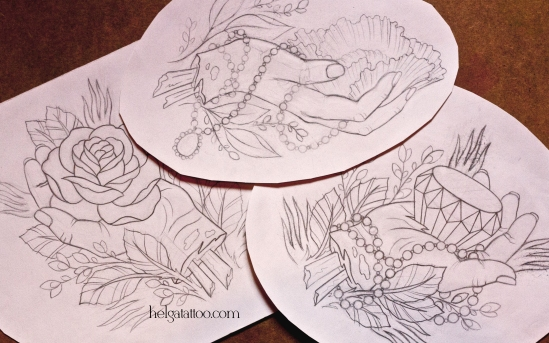 рисунок дизайн скетч роза цветок мак бриллиант кристалл old school neo traditional tattoo rose poppy diamond hands tatuaje el mano цветная тату татуировка в традиционном стиле  олд скул  в Санкт-Петербурге