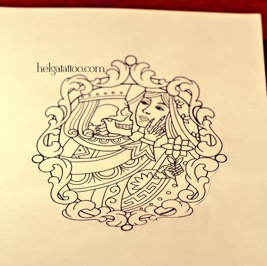 рисунок дизайн скетч карта в рамке череп old school neo traditional tattoo цветная тату татуировка в традиционном стиле  олд скул