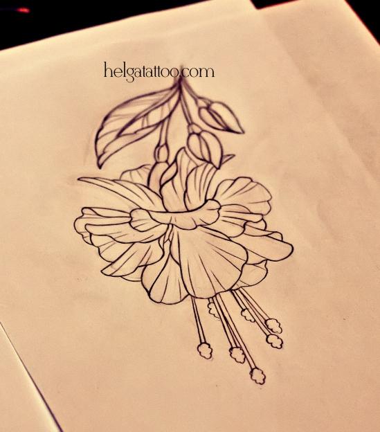 рисунок дизайн скетч old school neo traditional tattoo flower fuchsia tatuaje flor fucsia  цветная тату татуировка в традиционном стиле  олд скул в Питере в Санкт-Петербурге СПб