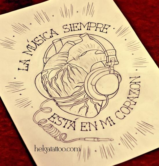 рисунок дизайн скетч design sketch corazón con los auriculares musica heart with headphones old school neo traditional tattoo цветная тату на руке на плече наушники музыка татуировка в традиционном стиле  олд скул в Питере Санкт-Петербурге Music is always in my heart