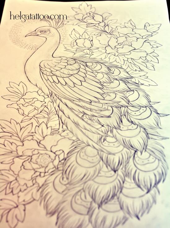 рисунок дизайн скетч old school neo traditional tattoo tatuaje peonía pavo real peony peacock bird  цветная тату птица на спине цветы татуировка в традиционном стиле  олд скул в Питере Санкт-Петербурге oriental tattoo японская ориентальная татуировка