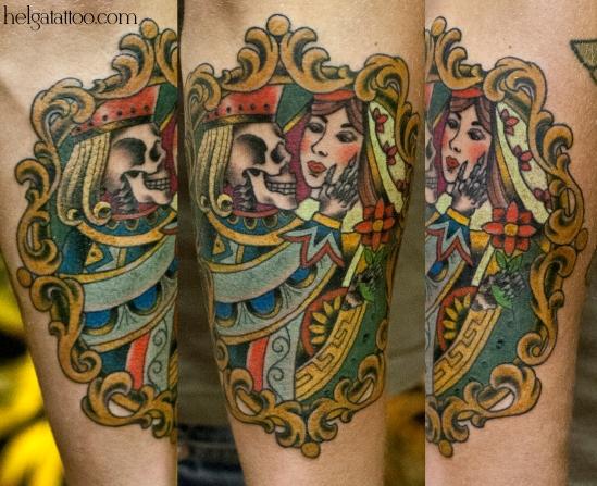 old school neo traditional tattoo card lady queen la carta tatuaje цветная тату на руке скелет в рамке игральные карты татуировка в традиционном стиле  олд скул в Питере Санкт-Петербурге