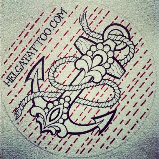 old school neo traditional tattoo tatuaje ancla anchor sticker adhesivo цветная тату якорь татуировка в традиционном стиле  олд скул  в Питере Санкт-Петербурге