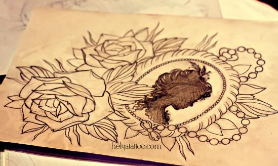 рисунок дизайн скетч old school neo traditional tattoo design sketch rose roundel  locket  medallion цветная тату камея силуэт девушка  татуировка в традиционном стиле  олд скул в Питере