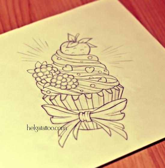 рисунок дизайн скетч pastel tatuaje dibujo old school neo traditional tattoo cupcake candy  цветная тату малина ежевика клубника бантик татуировка в традиционном стиле  олд скул  в Питере