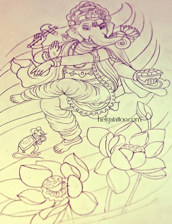 рисунок дизайн скетч design Ganesha lotus oriental old school neo traditional tattoo цветная тату божество бог индийская татуировка в традиционном стиле цветы япония индия  олд скул в Санкт-Петербурге