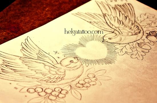 рисунок дизайн скетч  old school neo traditional tattoo birds heart love цветная тату синица снегирь сердце любовь родители в традиционном стиле  традишнл в Питере
