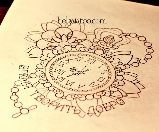 рисунок дизайн скетч watch time old school neo traditional tattoo design clock reloj tatuaje diseño цветная тату татуировка в традиционном стиле  олд скул традишнл в Санкт-Петербурге