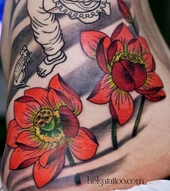 old school neo traditional tattoo lotus цветная тату на боку татуировка в традиционном стиле  олд скул  oriental tattoo японская ориентальная татуировка индийская ганеша