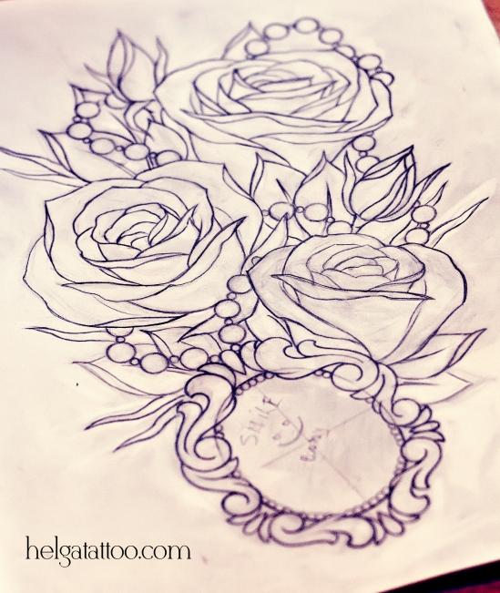 рисунок дизайн скетч old school neo traditional tattoo rose medallion locket el tatuaje rosa medallón цветная тату татуировка в традиционном стиле  олд скул  в Питере