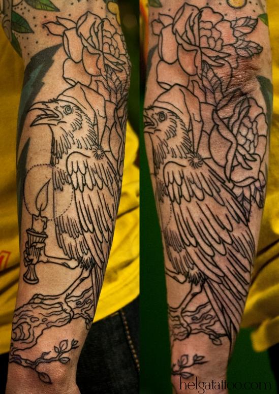 old school neo traditional tattoo tatuaje rose rosa cuervo grajo raven crow candle vela тату в традиционном стиле на руке традиция олд скул традишнл   цветная татуировка в Питере СПб