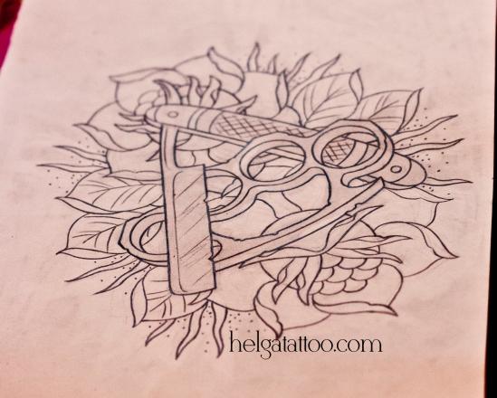 old school neo traditional tattoo rose brass knuckles cutthroat  razor blade tatuaje rosa manopla asesino maquinilla de afeitar тату в традиционном стиле традиция олд скул традишнл  рисунок дизайн скетч design sketch diseno татуировка в Санкт-Петербурге