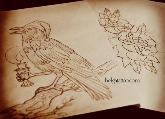 рисунок дизайн скетч design sketch diseno rose rosa cuervo raven crow grajo свеча колпак  old school neo traditional tattoo tatuaje тату в традиционном стиле традиция олд скул традишнл   цветная татуировка