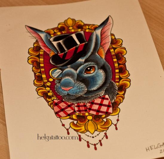 рисунок авторский дизайн скетч зайчик в монокле цилиндре в раме с бабочкой design sketch liebre hare disenoтатуировка в Санкт-Петербурге  old school neo traditional tattoo tatuaje тату в традиционном стиле традиция олд скул традишнл   цветная татуировка
