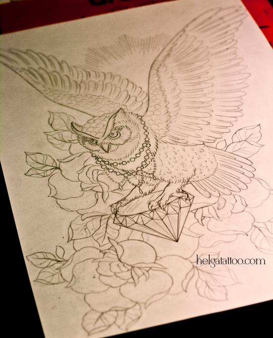 рисунок дизайн скетч филин розы алмаз кристалл птица design búho bird rose rosa owl sketch diseno old school neo traditional tattoo tatuaje тату в традиционном стиле традиция олд скул традишнл татуировка в Санкт-Петербурге