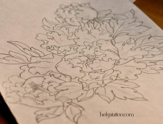рисунок дизайн скетч цветы peony flower flor peonía design sketch diseno японская татуировка oriental old school neo traditional tattoo tatuaje тату в традиционном стиле традиция олд скул традишнл   цветная татуировка в Санкт-Петербурге