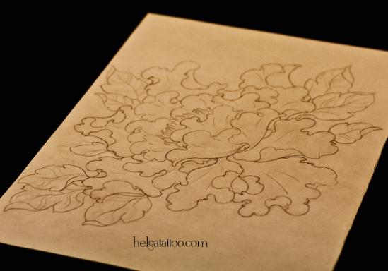 рисунок дизайн скетч design sketch diseno old school neo traditional tattoo tatuaje peony flower flor цветок японская татуировка ориентал oriental тату в традиционном стиле традиция олд скул традишнл