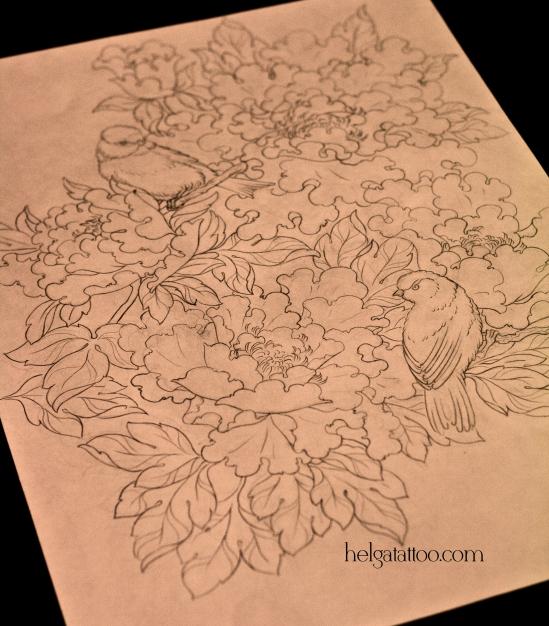 рисунок дизайн скетч design sketch diseno peony bird oriental японская татуировка цветы old school neo traditional tattoo tatuaje тату в традиционном стиле традиция олд скул традишнл