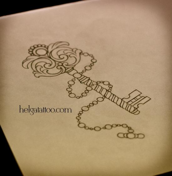 золотой ключик цепочка key llave винтаж рисунок дизайн скетч design sketch diseno old school neo traditional tattoo tatuaje тату в традиционном стиле традиция олд скул традишнл