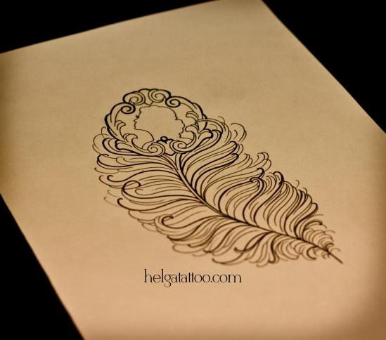 рисунок дизайн скетч медальон силуэт профиль camafeo cameo design feather sketch pluma diseno old school neo traditional tattoo tatuaje тату в традиционном стиле традиция олд скул традишнл   в Санкт-Петербурге