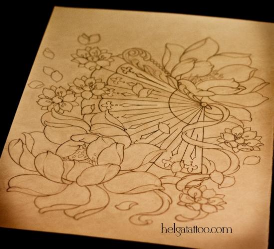 рисунок дизайн скетч сакура цветы flower flores lotus loto ventilador fan sakura oriental восточная японская татуировка design sketch diseno old school neo traditional tattoo tatuaje тату в традиционном стиле традиция олд скул традишнл