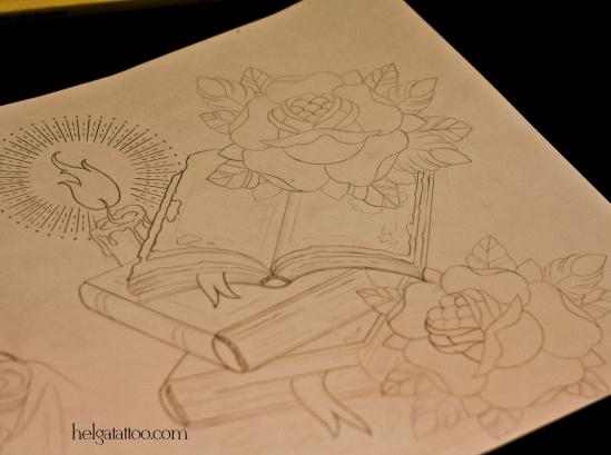 рисунок дизайн скетч design sketch diseno  book libro candle rose flower rosa vela наука old school neo traditional tattoo tatuaje тату в традиционном стиле традиция олд скул традишнл