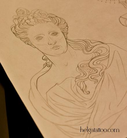 рисунок дизайн скетч статуя женщина estatua statue muse design sketch diseno old school neo traditional tattoo tatuaje тату в традиционном стиле традиция олд скул традишнл