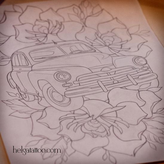 old school neo traditional tattoo car retro авто автомобиль машина машинка ретро розы цветы роза rose rosa coche flower рисунок дизайн скетч design sketch diseno tatuaje тату в традиционном стиле традиция олд скул традишнл   цветная татуировка в Санкт-Петербурге