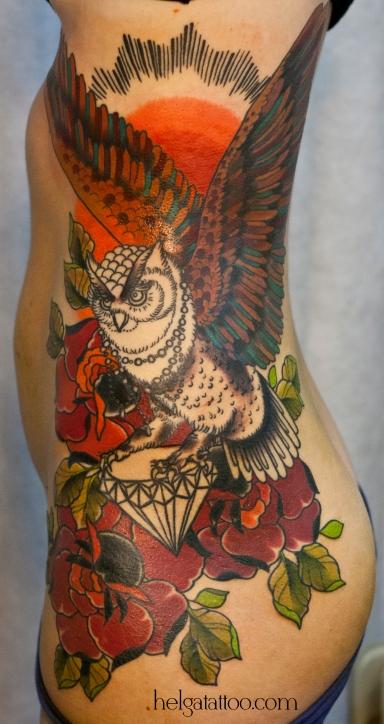 old school neo traditional tattoo tatuaje тату в традиционном стиле бриллиант роза цветы филин owl rose rosa flowers diamond buho in progress process традиция олд скул традишнл   цветная татуировка