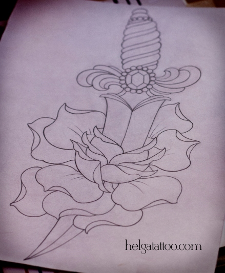 рисунок дизайн скетч цветок нож dagger daga rose rosa flower design sketch diseno old school neo traditional tattoo tatuaje тату в традиционном стиле традиция олд скул традишнл   цветная татуировка в Санкт-Петербурге