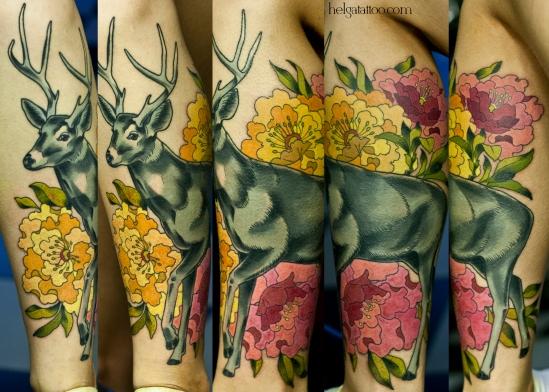 deer ciervo flower flor цветы animal животное пионы цветок old school neo traditional tattoo tatuaje тату в традиционном стиле традиция олд скул традишнл   цветная татуировка в Санкт-Петербурге